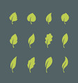 leaf icons set isolated on dark background vector image