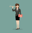 lying business woman with long nose vector image