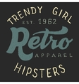 Retro trendy girl label vector image vector image