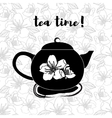 Tea pot silhouette with quote Vintage vector image