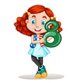 American girl holding number eight vector image