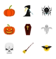 Halloween holiday icons set flat style vector image