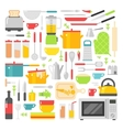 Kitchen dishes flat icons isolated on white vector image