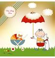new baby invitation with umbrella vector image