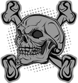 Skull and bones in background halftone vector image