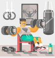 strong bodybuilder sportsman weightlifter doing bi vector image