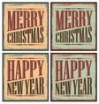 Vintage style Christmas tin signs - Christmas card vector image vector image
