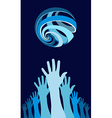 Raised hands world globe vector image