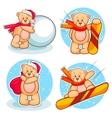 winter teddy bears set vector image