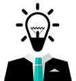 Man in Suit with Bulb Icon - Isolated on White vector image vector image