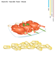 Fried Shrimp with Vitamin B12 B13 and Protein vector image