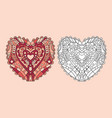 coloring page heart ornament vector image