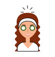 cute woman with cucumber mask vector image