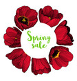 round frame with hand drawn tulips vector image