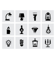 various lighting icons of lamps on white vector image