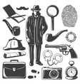 Vintage Detective Elements Set vector image