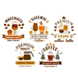 Coffee drinks with desserts badges for cafe design vector image vector image