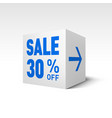 cube banner template thirty percent off discount vector image vector image