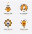 four icons with human head rocket and light bulb vector image vector image
