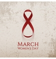 March 8 Womens Day curved Ribbon as Eight Number vector image