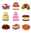happy birthday party cakes with decorations vector image