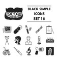 medicine and hospital set icons in black style vector image
