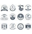 Tailor shop black labels icons set vector image