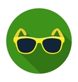 Yellow trendy sunglasses icon in flat style vector image