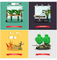 set of military posters in flat style vector image