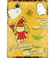 Retro Halloween Card with witch vector image vector image