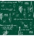 Seamless wine pattern chalkboard vector image
