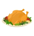 Meal on dish roasted turkey vector image vector image