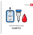 Diabetes Medical flat icons Check the level of vector image vector image