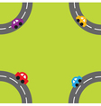 Background with roads and cartoon cars in the corn vector image