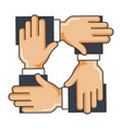 businesspeople hands teamwork icon vector image