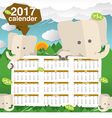Cute Elephants 2017 Calendar Starts Sunday vector image