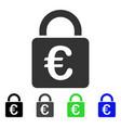 euro lock flat icon vector image