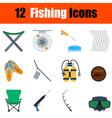 Flat design fishing icon set vector image