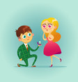 handsome man proposing marriage to beautiful woman vector image