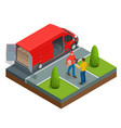isometric express delivery concept man accepting vector image