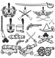 old weapons muskets sabers cannons cores hussar vector image