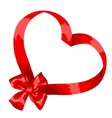 Valentine card with red satin bow and ribbon vector image vector image