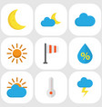 meteorology flat icons set collection of sunny vector image
