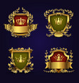 royal heraldic emblems in victorian style vector image