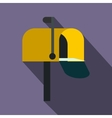 Yellow mail box icon flat style vector image