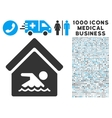 Indoor Water Pool Icon with 1000 Medical Business vector image
