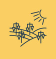 isolated linear icon - vineyard landscape vector image