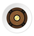 Round wood shield icon flat style vector image