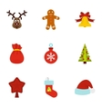 Winter holiday icons set flat style vector image