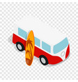 Retro red bus with yellow surfboard isometric icon vector image